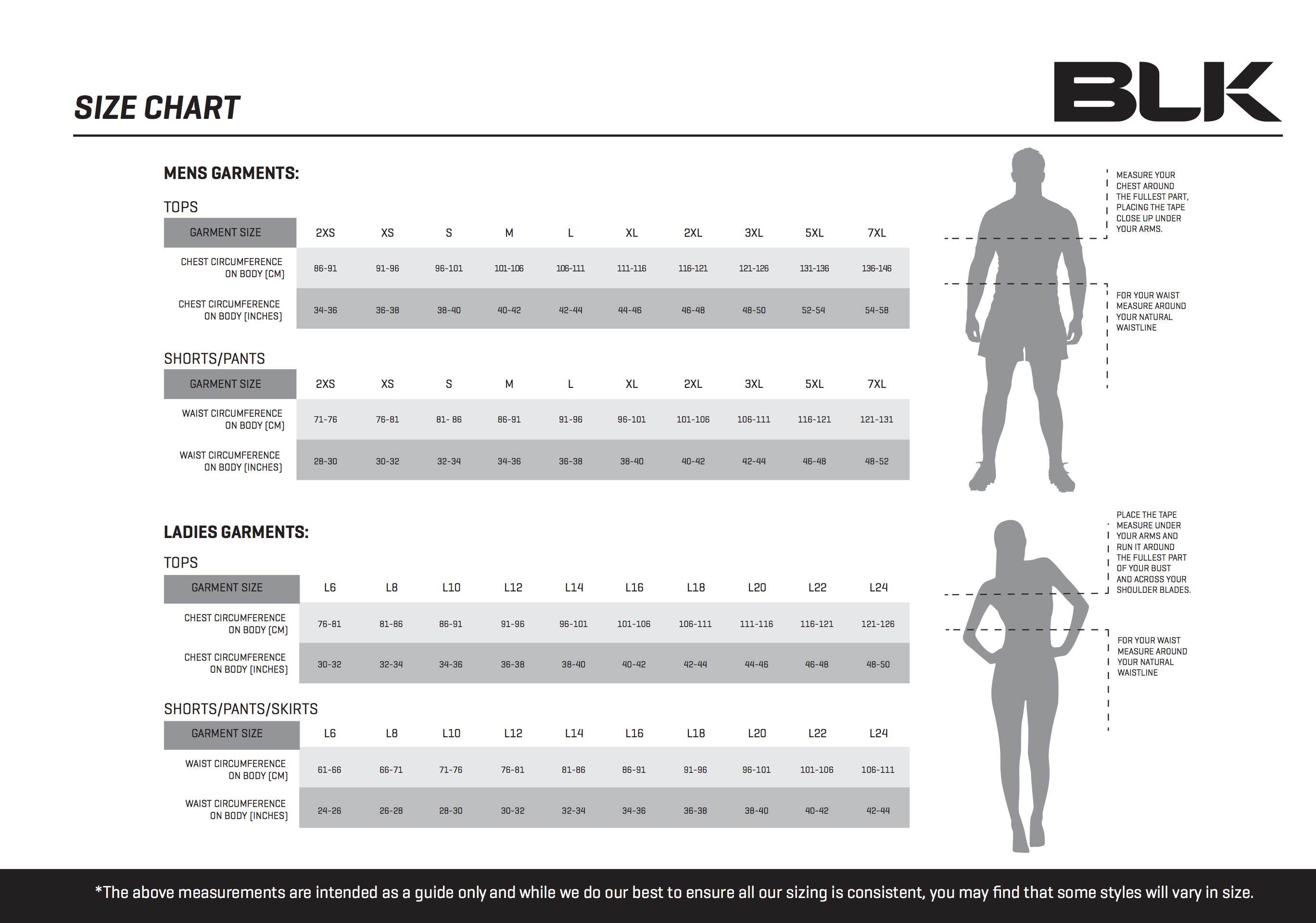 BLK size charts